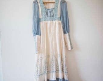 Blue & White Gunne Sax || Vintage Boho Gown || Prairie Dress by Jessica