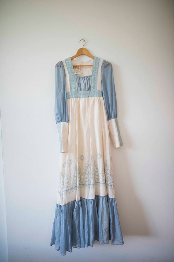 Blue & White Gunne Sax Vintage Boho Gown Prairie Dress