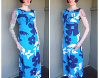Vintage 1960's Blue and White Hawaiian Floral Psychedelic Barklcloth Empire Waist Maxi Dress - size Medium