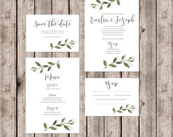 Sophisticated 'Somerset' wedding invitations with leaf detail and matching accessories