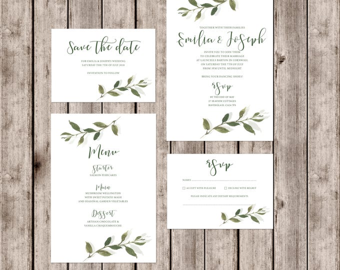 Featured listing image: Sophisticated 'Somerset' wedding invitations with leaf detail and matching accessories
