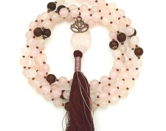 Rose Quartz Mala with Rosewood & Lotus charm, knotted, 108 bead mala, hand-made