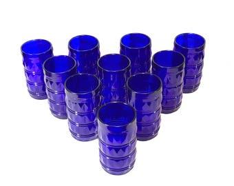Francosinho Brazil Cobalt Blue Drinking Glasses Set of 10