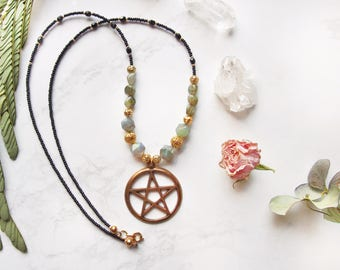 Beaded Labradorite Gemstone Pentacle Necklace