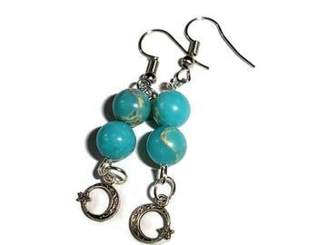 Moon Earrings Crescent Moon Earrings Silver Earrings Jasper Earrings Impression Jasper Earrings Moon and stars Earrings Blue Moon Earrings