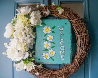 Hand Painted Slate - Spring/Summer Welcome Sign