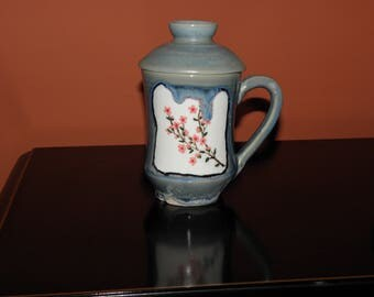 Hand Painted Cherry Blossom Lidded Tea/Coffee Cup
