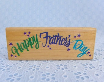 Happy Father's Day Rubber Stamp, by Rubber Stampede, Vintage, Wood Mounted, Posh Impressions, Father's Day Card Making, Paper Stamping