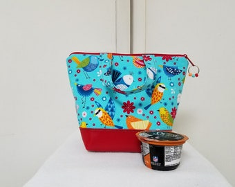 Kids Lunch Bag with Birds, Vinyl Bottom, Lunch Box with Birds, Girls Lunch Bag with Birds, Washable, Heavy Nylon Lining with Zipper Pocket.