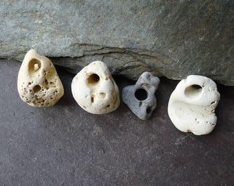 Four Little Holey Beach Stones / Lucky/ Scottish Hag Stone