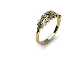 14k Yellow Gold and Diamond Ring, Diamond Leaf Ring, Dress Ring, Leaves Engagement Ring Yellow Gold, Nature Diamond Engagement Ring
