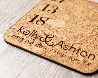Rustic save the dates, save the date, save the dates, cork coasters or magnets, wedding save the dates, save the date coasters, set of 25 pc