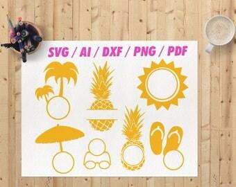 Beach monogram svg / Beach monogram frames svg / Palm tree monogram svg / Summer monogram svg / dxf png eps vector Beach cricut file