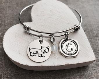 Greta the guinea pig, guinea pig, Hamster, guinea pig Bracelet, guinea pig Jewelry, Silver guinea pig, Gift, Silver Bracelet, Charm Bracelet