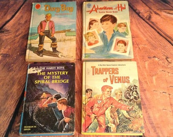 Set of 4 Young Adult Books - 1960s - Adventures with Hal, Dory Boy, The Hardy Boys, A Dig Allen Space Explorer Adventure - Trappers of Venus