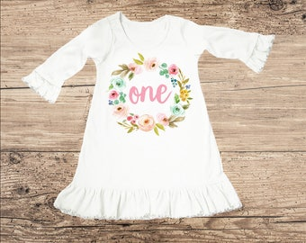 Birthday Dress for One Year Old, First Birthday Outfit, Boho Ruffle Dress