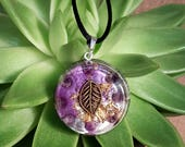 Amethyst Orgone Pendant  - Lightworker Jewellery - Crown Chakra Energy - Healing Crystal Pendant - Medium