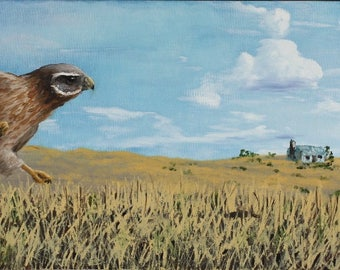 Oil Painting of Hawk Hunting Diamondback Rattlesnake in Grassy Field Wildlife Bird of Prey Art Prairie Snake Artwork Nature Realism