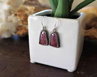 Natural, Dark Maroon-Pink Sapphire Cabochons, Rose-Cut in .925 Sterling Silver with Serrated Bezel Design and Dark Patina, Sapphire Earrings