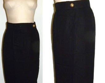 1980's Louis Feraud Pencil Skirt / BLACK Kick Pleat Wiggle Skirt / Structured Minimalist skirt / vintage size 8