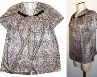 Vintage Vanity Fair Leopard Print Bed Jacket Pajama top / Rockabilly Pin Up Bombshell / Vintage size Small