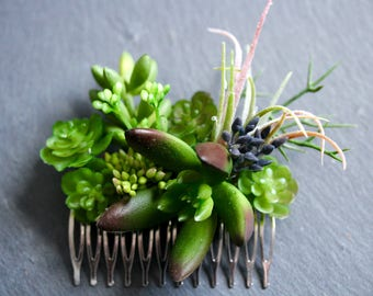 Succulent hair comb bridal hair flowers faux flowers comb
