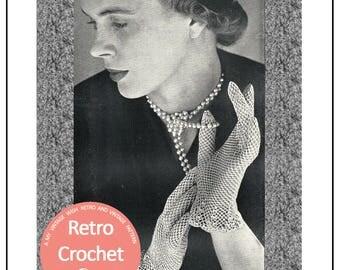 1950s Graceful Crochet Gloves Vintage Pattern - PDF Instant Download