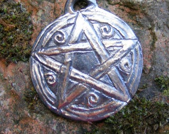 Pentacle, Pentagram, Bronze Pendant, Spiritual, Wicca, Wiccan, Witch, Pagan, Amulet, Talisman, by the Green Man