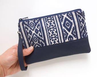 Wristlet Purse - Wristlet Clutch - Small Wristlet - Fabric Wristlet - Wristlet Vegan - Navy Wristlet - Wristlet Handbag - Canvas Wristlet