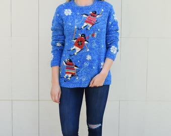 Skiing Penguins Christmas Sweater, Northern Isles Skiers Not so Ugly Christmas Sweater, Festive Winter Fun Holiday Sweater