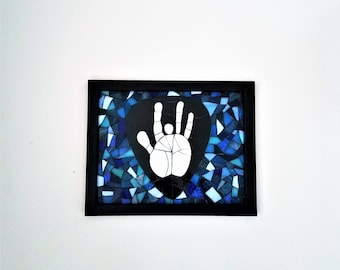 Grateful Dead Art Jerry Garcia Hand with Black Guitar Pick Mosaic Picture, Music Inspired Hippie Room Decor, Jam Band, Deadhead Gift Idea