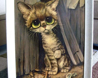 Vintage 1960's GIG – Margaret Keane Style – Large Framed PITY KITTY Print – Alley Cat – Sore Paw – Sardine Can - Big Eyes – P610 -