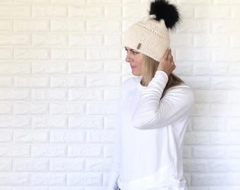 Double Brim Knit Beanie Hat with Black Removable Fur Pom | ivory off white/Fisherman | The Berretto | Ready To Ship!
