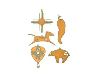 New Mexico Themed Rusty Metal Ornament Assortment