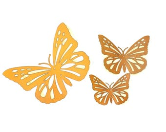 Butterfly Yard Art Rusted Metal Garden Decor Set Of 3