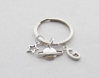 Space Keychain, Saturn Keychain, Star Keychain, Space Jewelry, Science Keychain, Galaxy Keychain, Science Gift