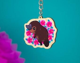 Cute Platypus Wooden Key Charm - Key Chain - Hibiscus Keyring - Odd Animals