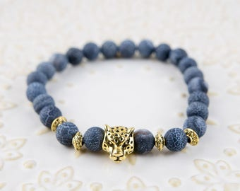 Frosted Vein Gold panther beaded Bracelet 8mm beads