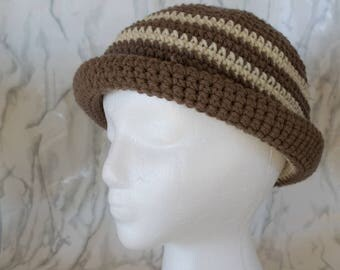 Brown and Tan Striped Winter Hat- Rolled Brim- Ready to Ship - Custom Order in YOUR size and color selections