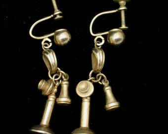 Candlestick Telephone Earrings Vintage Figural