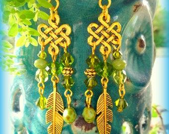 Green Earrings; Feather Earrings; Boho Earrings; Hippie Earrings; Bohemian Earrings; Olive Green Earrings; Gold Earrings; Australian Seller