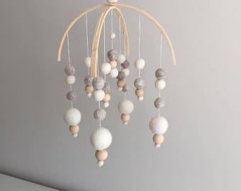 Neutral/Grey Double Arch Felt Ball Baby Mobile