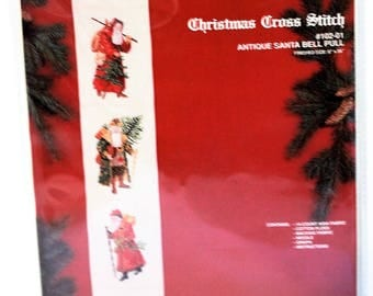 Janlynn Christmas Cross Stitch Antique Santa Bell Pull Kit #102-01 Repackaged Vintage 1990