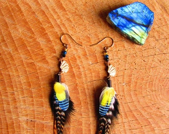 Earrings ethnic, Native American headdress, feathers, gold