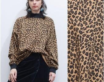 1980s 90s Leopard Print Tunic Tee // Long Sleeve Oversized Tshirt w High Neck sz L / XL