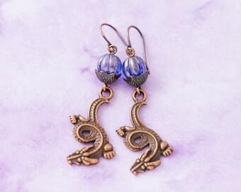 Antique Copper Oriental Dragon Earrings with Purple Beads, Asian Earrings, Dragon Jewelry