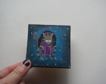 Counselor Deanna Troi Cat, Star Trek Counselor Troi Cat Painting, Acrylic Star Trek Cat by Amber Maki
