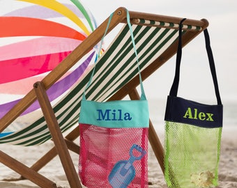 Personalized Seashell Bag, Mesh Sea Shell Bag, Mesh Shell Bag, Monogrammed Shell Tote, Kids Beach Bag, Seashell Tote Bag, Beach Shell Bag