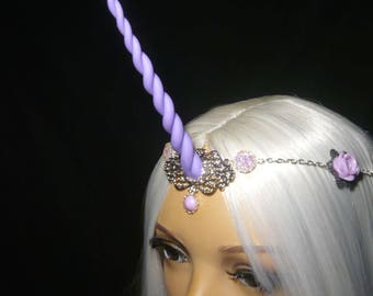 Lilac Blossom Unicorn - Tiara with handsculpted lilac-lavender purple Horn