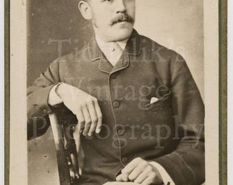 CDV Carte de Visite Photo Victorian Handsome Young Mustached Man, Smart Suit Portrait - Protheroe of Bristol England - Antique Photograph